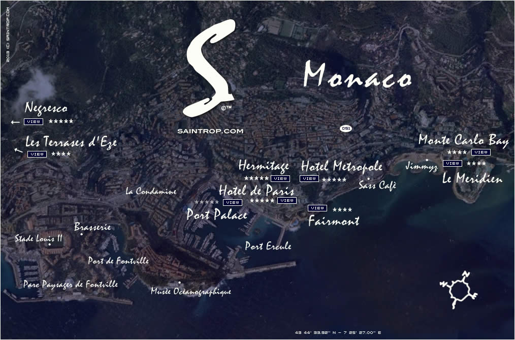 Hotels Map in Monte Carlo