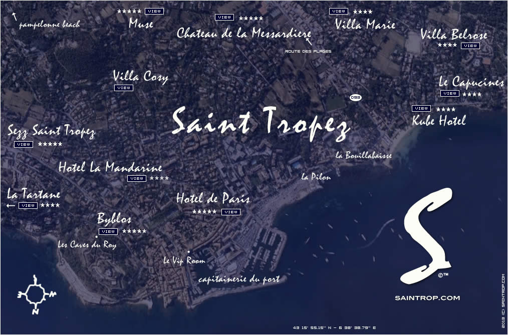 Hotels Map in Saint Tropez